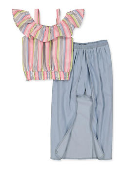 Girls 7-16 Striped Cold Shoulder Top with Maxi Shorts - 1610038340028