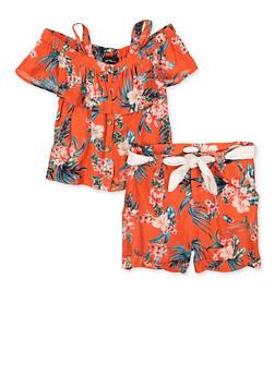 Girls 7-16 Floral Cold Shoulder Top and Shorts - 1610038340045