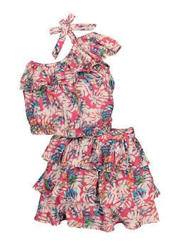 Girls Tropical Print Ruffled Top and Skirt Set - 1610038340058