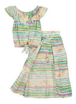 Girls Tie Dye Striped Tie Front Top and Maxi Shorts - 1610038340060