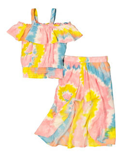 Girls Tie Dye Cold Shoulder Top and Maxi Shorts - 1610038340062