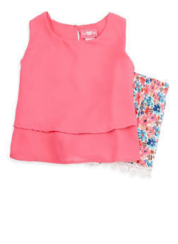Girls 7-16 Tiered Tank Top with Printed Shorts - 1610048370057