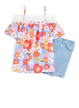 Girls 7-16 Floral Off the Shoulder Top with Denim Shorts Set - 1610048370060