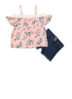 Girls 7-16 Floral Off the Shoulder Top with Jean Shorts - 1610048370080