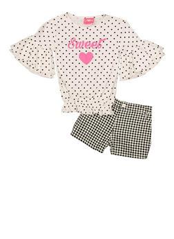 Girls 7-16 Sweet Polka Dot Top and Plaid Shorts - 1610048370086