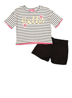 Girls 7-16 Hello Graphic Striped Tee and Shorts - 1610048370087