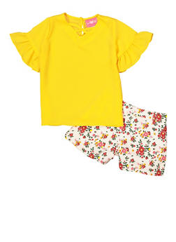 Girls 7-16 Bell Sleeve Top and Floral Shorts - 1610048370088