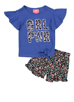 Girls 7-16 GRL PWR Tee with Floral Shorts - 1610048370090