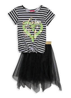 Girls 7-16 Striped Love Tee and Tulle Skirt - 1610048370097