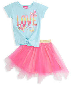 Girls 7-16 Love Wins Tee and Tulle Skirt Set - 1610048370098