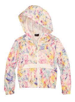 Girls Printed Zip Front Windbreaker Jacket - 1610051060059