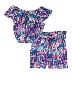 Girls Graffiti Ruffle Overlay Top and Paper Bag Waist Shorts - 1610051060064