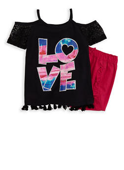 Girls 7-16 Love Graphic Top and Shorts - 1610054730028