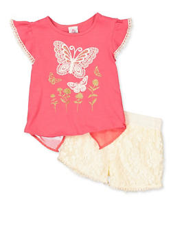 Girls 7-16 Butterfly Split Back Top and Lace Shorts - 1610054730087