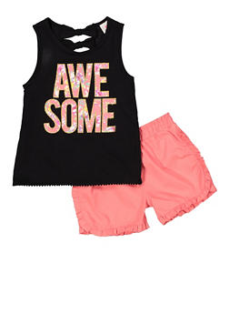 Girls 7-16 Awesome Graphic Tank Top and Shorts - 1610054730095