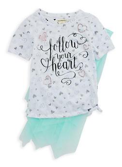 Girls 6x-16 Graphic Heart Print Top and Tutu Set - 1610061950002