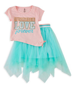 Girls 7-16 Kindness and Love Forever Tee with Tulle Skirt - 1610061950025