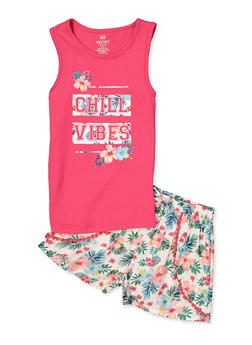 Girls 7-16 Chill Vibes Tank Top with Floral Shorts - 1610063370001