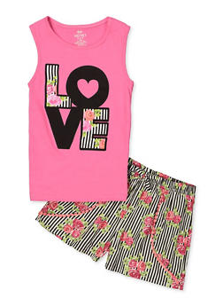 Girls 7-16 Love Tank Top with Printed Shorts - 1610063370003