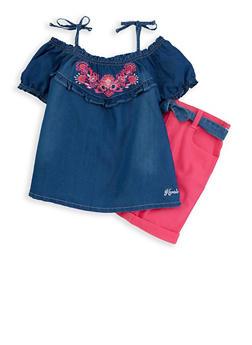 Girls 7-16 Kensie Denim Top with Shorts - 1610069380027
