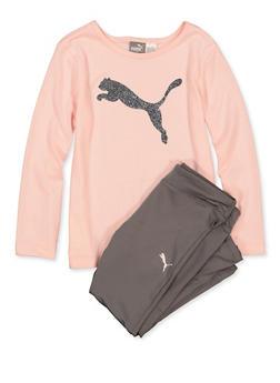 Girls 4-6x Puma Glitter Tee with Active Leggings - 1611075230017