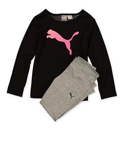 Girls 4-6x Puma Crew Neck Top with Active Leggings - 1611075230018