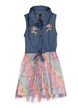 Girls 4-16 Unicorn Denim and Tulle Dress - 1614023130010