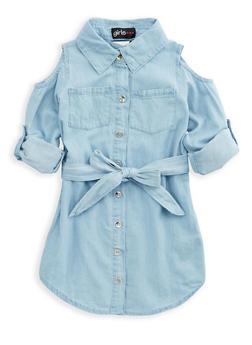 Girls 4-6x Cold Shoulder Denim Dress - 1614038340042