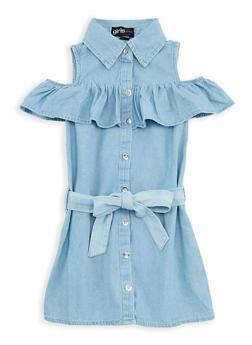 Girls 4-6x Denim Ruffle Button Front Dress - 1614038340044