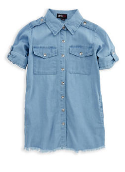 Girls 4-6x Frayed Denim Dress - 1614038340050
