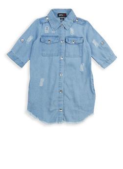 Girls 4-6x Distressed Button Front Denim Dress - 1614038340051