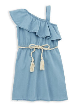 Girls 4-6x Denim Ruffled One Shoulder Shift Dress - 1614038340055