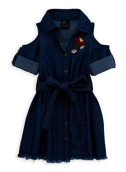 Girls 4-6x Embroidered Button Front Denim Dress - 1614038340066