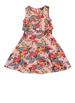 Girls 4-6x Floral Textured Skater Dress with Necklace - 1614038340250