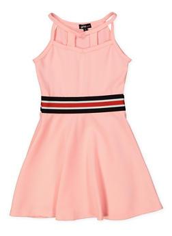 Girls 4-6x Textured Caged Neck Skater Dress - 1614038340252