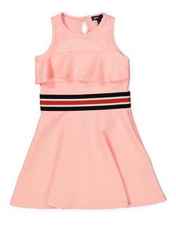 Girls 4-6x Striped Elastic Band Ruffled Skater Dress - 1614038340253