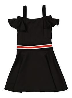 Girls 4-6x Striped Elastic Band Skater Dress - 1614038340254
