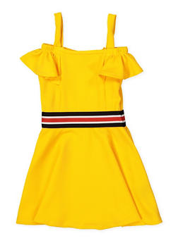 Girls 4-6x Striped Elastic Band Skater Dress - 1614038340254