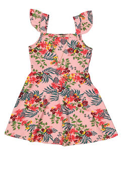 Girls 4-6x Textured Floral Dress with Necklace - 1614038340255