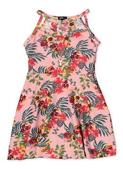 Girls 4-6x Floral Leaf Print Dress with Necklace - 1614038340256
