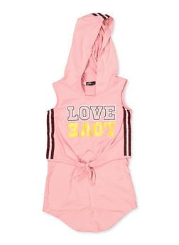 Girls 4-6x Love Tie Front High Low Dress - 1614038340268