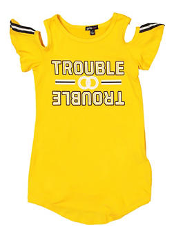 Girls 4-12 Trouble Graphic Cold Shoulder Tee - 1614038340270