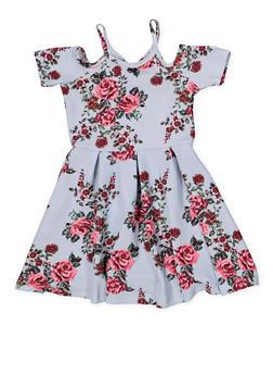 Girls 4-6x Textured Knit Floral Dress - 1614038340275