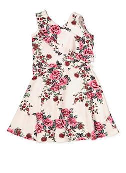 Girls 4-6x Textured Knit Floral Skater Dress - 1614038340276