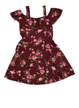 Girls 4-6x Floral Off the Shoulder Skater Dress - 1614038340277