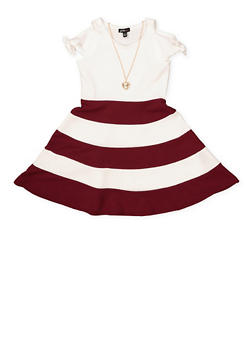 Girls 4-6x Color Block Skater Dress with Necklace - 1614038340278