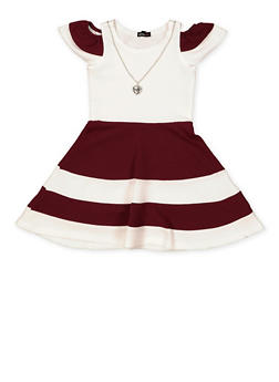 Girls 4-6x Color Block Skater Dress with Necklace - 1614038340279