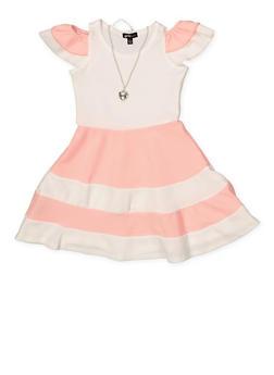 Girls 4-6x Tiered Cold Shoulder Color Block Dress - 1614038340280