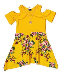 Girls 4-6x Ruffled Cold Shoulder Floral Skater Dress | 1614038340283 - 1614038340283