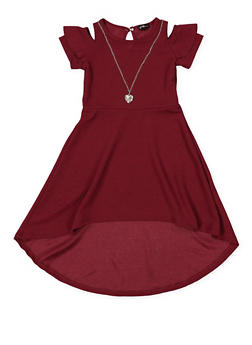Girls 4-6x High Low Dress with Necklace - 1614038340284